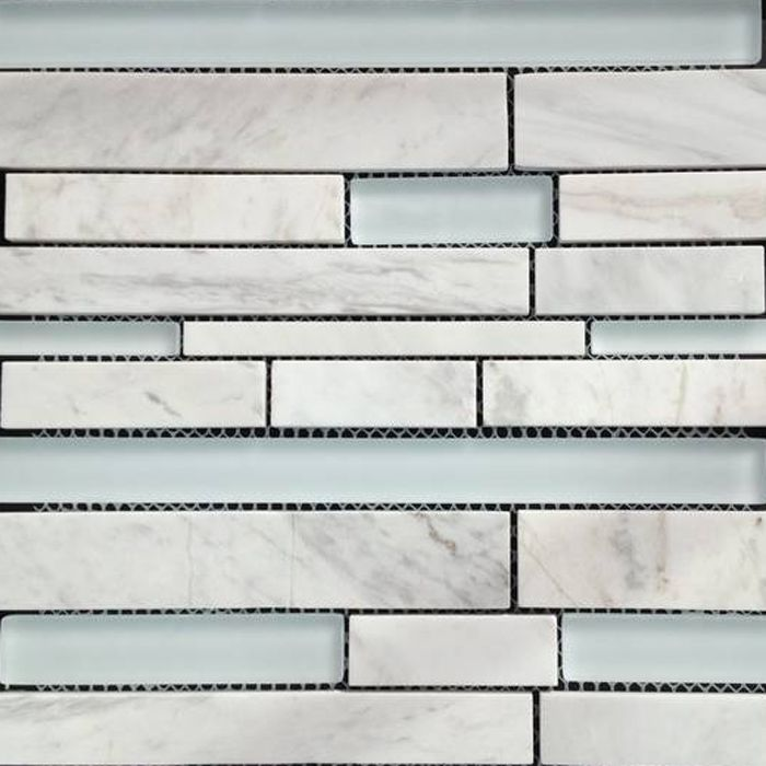 Linear Mosaic Glass Tile Tile Design Ideas