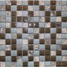 "BSDZ-236: A UNIQUE CHECKERBOARD DECO OF TUMBLED EMPERADOR DARK, AND METALLIC GLAZED FINISH GLASS 1 X 1"" MOSAIC TILES."