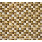 "BSK-1008: A checkerboard deco of 5/8 x 5/8"" clear glass and tumbled onyx tiles in honey blended hues. Best used as a backsplash or wall mosaic for shower, and bathtubs."