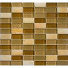 BSK-1032: A CHECKERBOARD DECO OF SMOKY BEIGE GLASS, CLEAR BEIGE GLASS AND TUMBLED ONYX TILES. SUITABLE FOR BACKSPLASH AND FLOOR WALL APPLICATION IN SHOWER, BATHTUB, AND MIRROR FRAME.