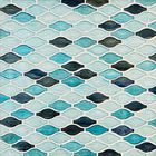GL-CUR003: DARK BLUE,TURQUIOSE AND SKY BLUE CLEAR GLASS WAVE PATTERN MOSAIC