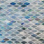 GL-CUR387: BLUE/VIOLET AND GREY COLOR WAVE PATTERN GLASS MOSAIC