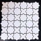 GL-02: WHITE GEOMETRIC STAR CERAMIC MOSAIC, SOFT MATTE