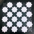 GL-04: WHITE GEOMETRIC STAR CERAMIC MOSAIC WITH BLACK INSERTS, SOFT MATTE