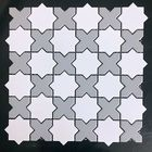 GL-06: WHITE GEOMETRIC STAR CERAMIC MOSAIC WITH GREY INSERTS, SOFT MATTE
