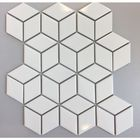 GL-BL1001: WHITE RHOMBUS PATTERN GLOSSY FINISH CERAMIC MOSAIC