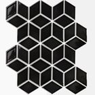 GL-BL4913: BLACK RHOMBUS PATTERN GLOSSY FINISH CERAMIC MOSAIC