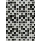 GL-CP0301: FROSTED WHITE GLASS, CHROME INSERTS AND CHROME BACKED STRIPPED GLASS MOSAIC.