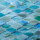 GL-CUR212: AQUA MARINE COLORED GLASS IN CURVED PATTERN MOSAIC TILE