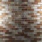 GL-J7313: BROWN METALLIC STRIPPED GLASS TILE AND CHROME METALLIC STRIPPED MOSAIC