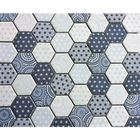 GL-JP213: BLUE AND WHITE  MARRAKESH HEXAGON RECYCLED GLASS MOSAIC