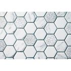 GL-KP003: HEXAGON PATTERN MOSAIC TILE WITH PRINTED PATTERNS. MADE FROM RECYCLED GLASS.