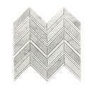 GL-M301: CHEVRON PATTERN GREY POLISHED MARBLE WITH THASSOS WHITE MARBLE STRIPS