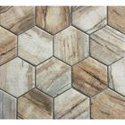 GL-MP684: BARN WOOD MULTI COLOR  HEXAGON RECYCLED GLASS MOSAIC