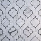 GL-WJ014: CUSTOM WATER JET CUT WHITE AND GREY MARBLE MOSAIC TILE