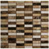 ST-154860P: POLISHED BOTTICINO, EMPERADOR LIGHT AND EMPERADOR DARK IN A PIANO KEY STACKED STYLE. PERFECT FOR BACKSPLASH, BORDER DECO, FLOOR DESIGN AND FEATURE WALL APPLICATION.