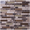 B7520: A COMBINATION OF TUMBLED MARBLE TILES MIXED WITH CRYSTAL GLASS IN HORIZONTAL CATWALK PATTERN. IDEAL FOR KITCHEN AND VANITY BACKSPLASH, BORDERS, WALLS APPLICATIONS.