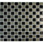 KC-69: GLASS CHECKER MOSAIC WITH BLACK GLASS AND CHROME BACKED GLASS PIECES