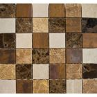 "SM-4801PM: A RUSTIC-INSPIRED COMBINATION OF POLISHED MARBLE AND ANTIQUE COPPER IN 2 X 2"" CHIPS. IDEAL FOR BACKSPLASH, AND WALL APPLICATIONS IN BATHROOM SETTINGS."